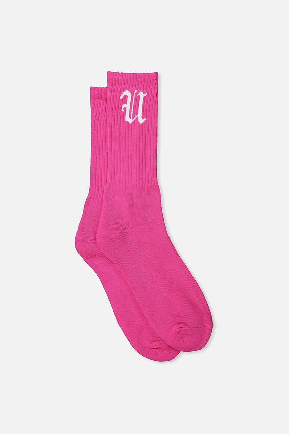 Retro Ribbed Socks, NEON PINK FU