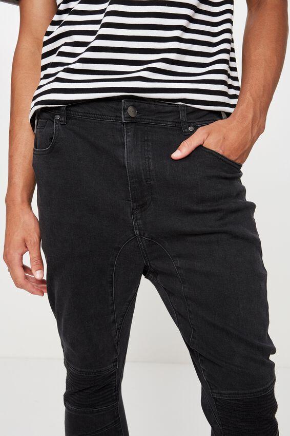 Moto Denim Cuffed Jean, WASHED BLACK