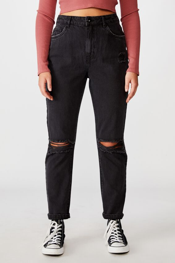 Ripped Mom Jean, THRIFT BLACK DISTRESSED