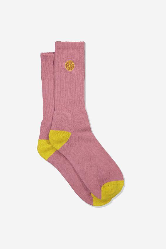 Retro Ribbed Socks, FCT_BRANDY