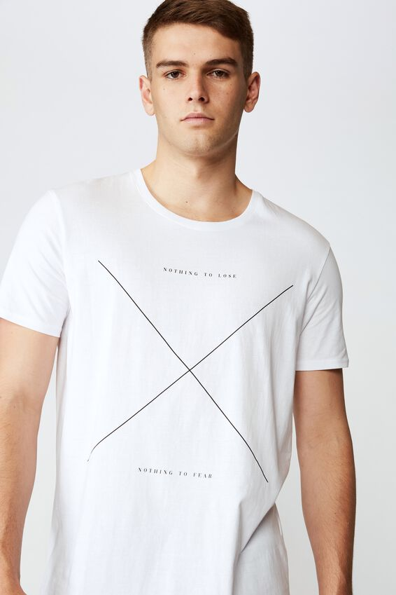 Curved Graphic T Shirt, WHITE NOTHING TO LOSE