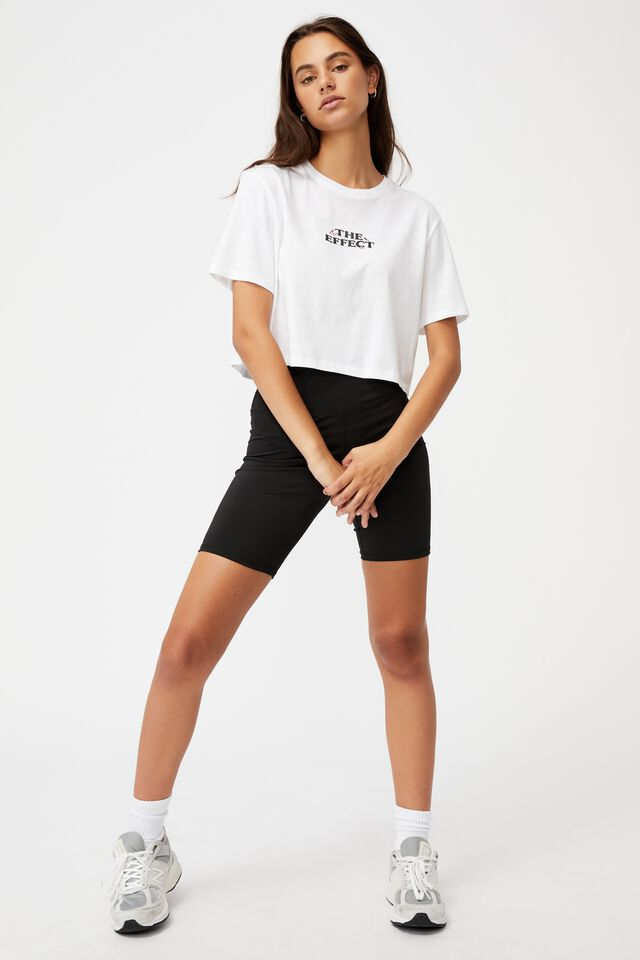 Short Sleeve Crop Graphic T Shirt, WHITE/THE EFFECT
