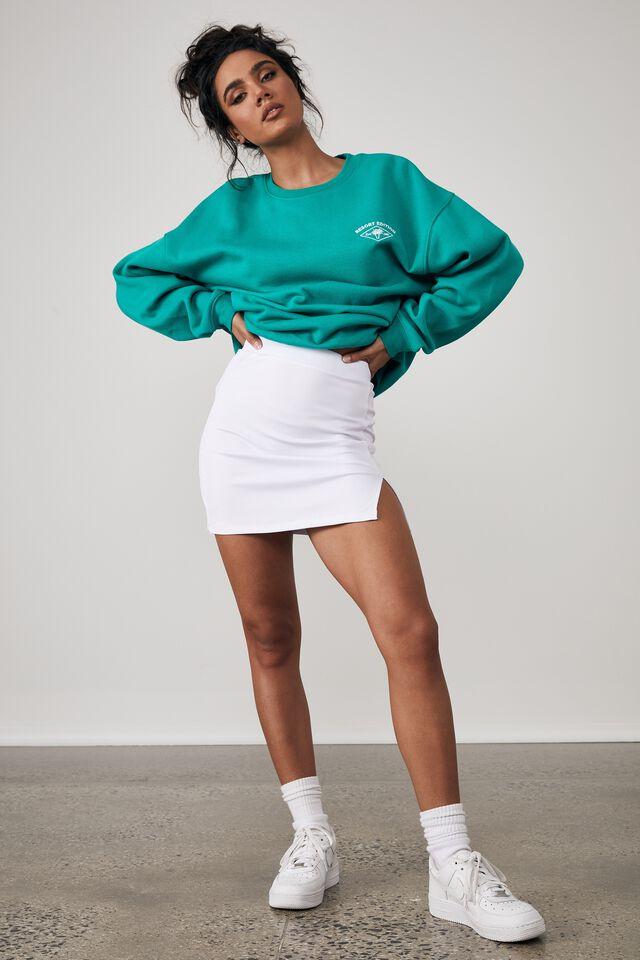 Rib Side Split Mini Skirt, WHITE