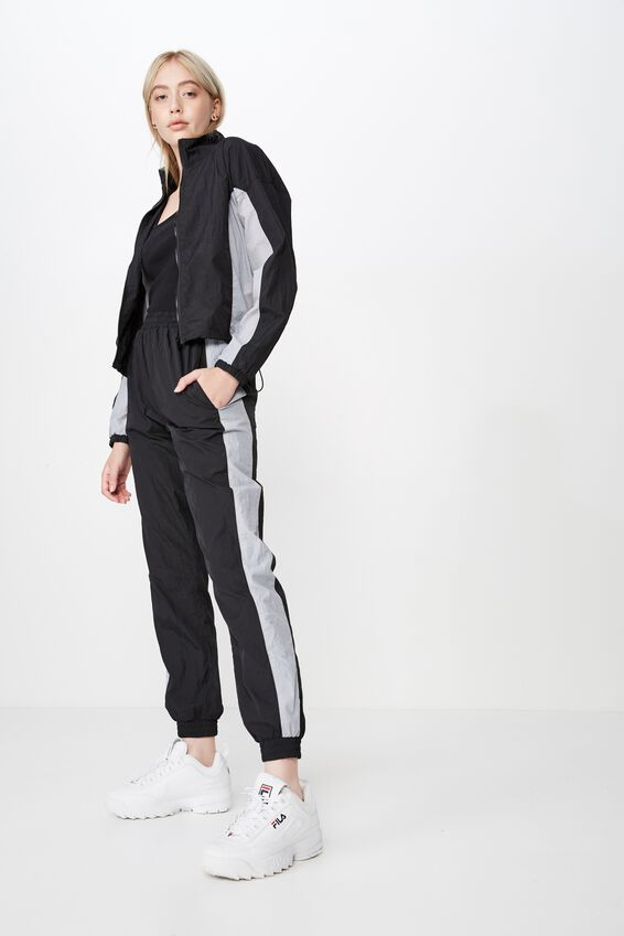 Woven Panelled Pant, BLACK PANELLED