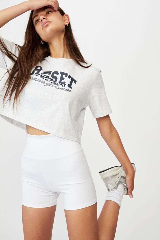 Short Sleeve Crop Graphic T Shirt, SILVER MARLE/RESET ATHLETICA