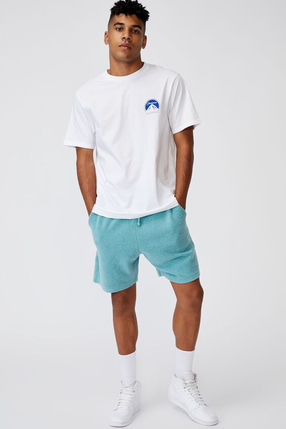 Reverse Fleece Track Short, WASHED COOL MINT