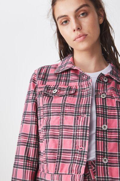 Co-Ord Denim Jacket, PINK CHECK