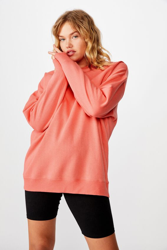 Oversized Crew Neck Sweater, SUNKIST CORAL