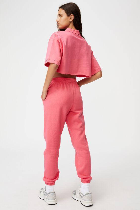 Short Sleeve Crop Polo Top, HONEYSUCKLE