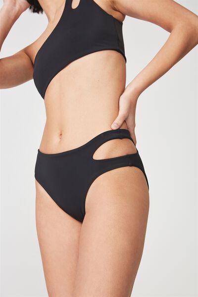 Cut Out Full Bikini Bottom, BLACK