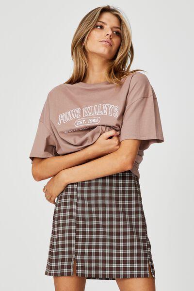 Double Split Mini Skirt, ADLEY MINI CHECK_BROWN