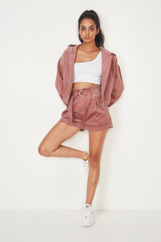 Cord Hooded Bomber Jacket, DUSTY PINK