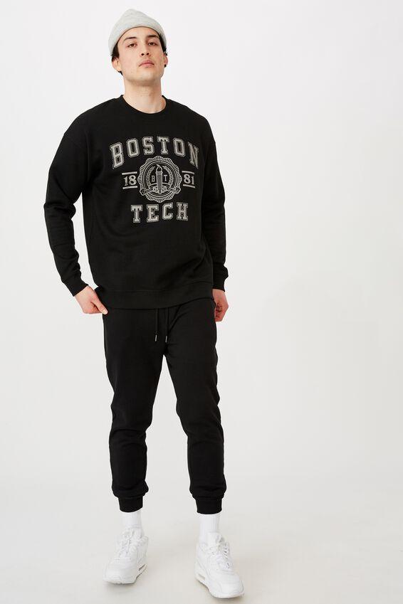 Oversized Graphic Crew, BLACK/BOSTON TECH