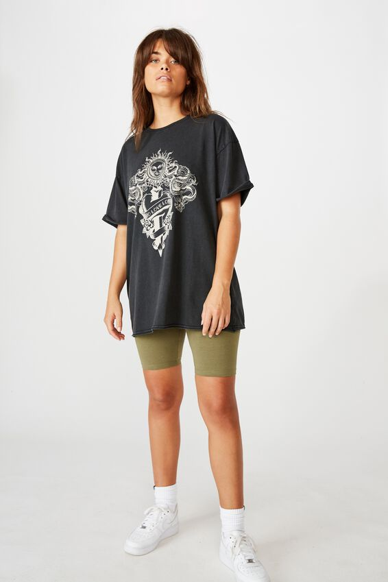 Oversized Graphic Tee, WASHED BLACK/NO LOVE LOST
