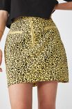 Woven Half Zip Skirt, YELLOW ANIMAL PRINT