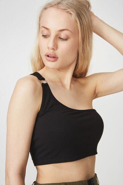 One Shoulder Detail Ring Tank Top, BLACK