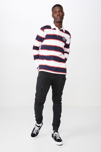 Rugby Top, NAVY/RED STRIPE