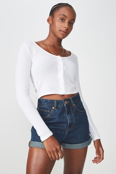 Waffle Long Sleeve Henley Crop, WHITE
