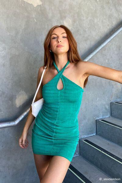 Key Hole Halter Neck Dress, CLOVER GREEN