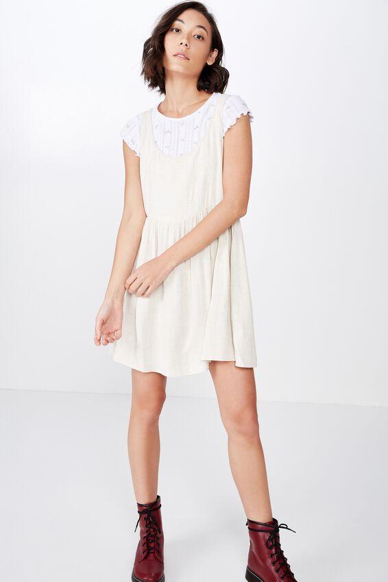 Sleeveless Babydoll Dress, NATURAL