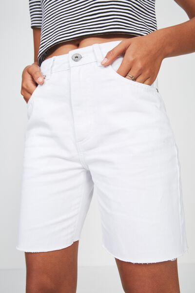 Long Cut Off Denim Short, WHITE