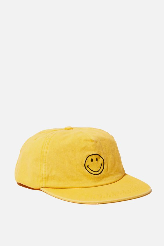 License Washed Flat Peak Cap, LCN SMILEY WASHED YELLOW