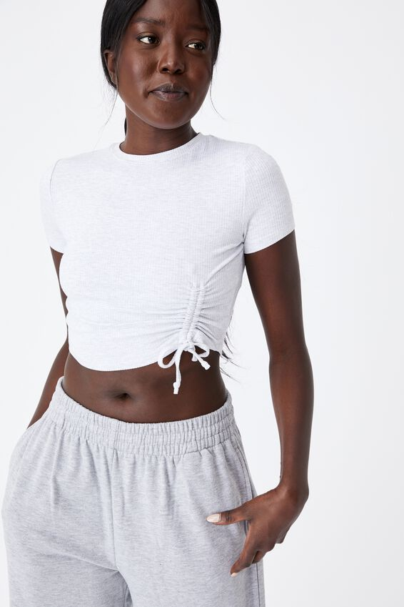 Ruched Short Sleeve Top, SILVER MARLE
