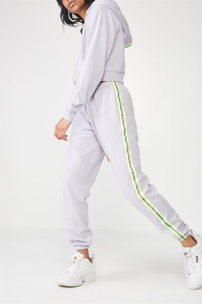 Trenton Trackpant, LILAC GREY/NEON YELLOW