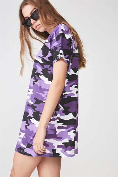 Tshirt Dress, PEACE KEEPER CAMO PURPLE