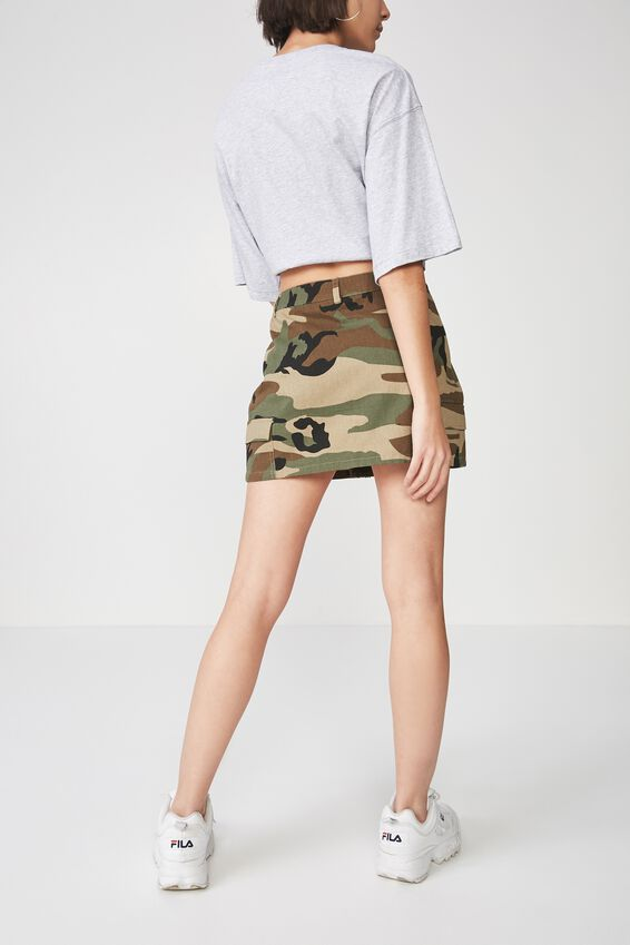 Camo Zip Front Skirt, KHAKI CAMO