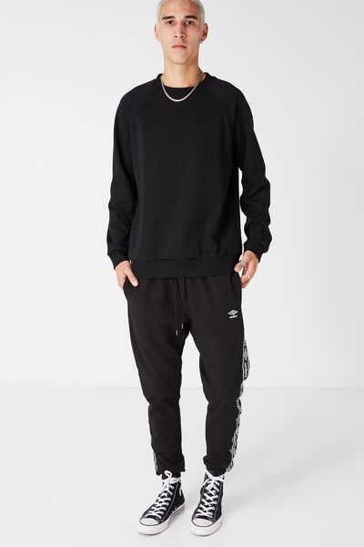 Umbro Side Stripe Trackie, BLACK