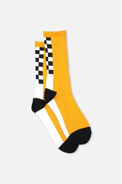 Retro Ribbed Socks, SPINE CHECK_ORANGE