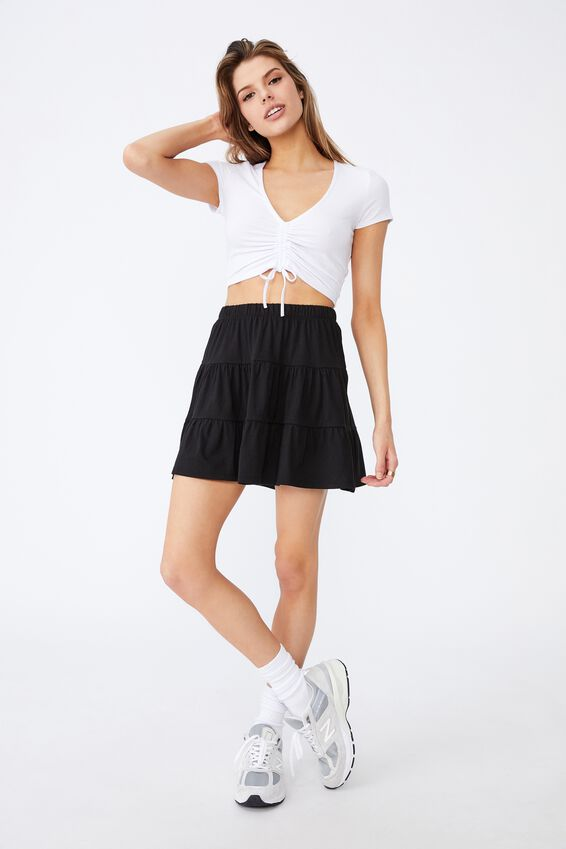 Jersey Tiered Skirt, BLACK