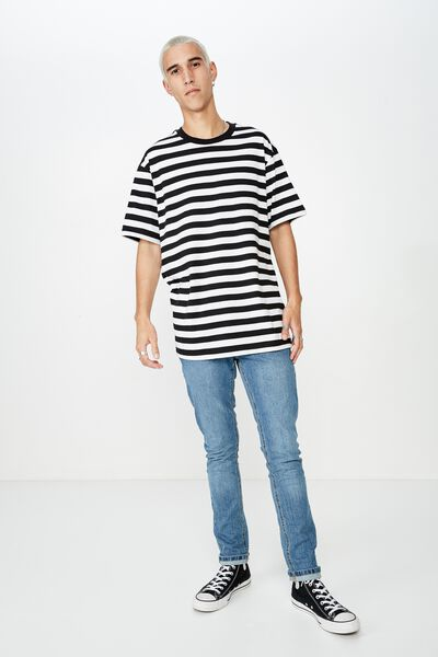 Stripe T Shirt, WHITE/BLACK STRIPE