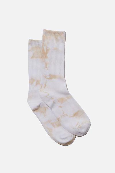 Retro Ribbed Socks, Tie Dye White Fog