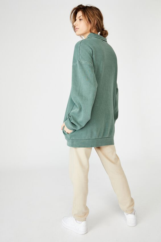 Oversized Collared Crew, WASHED KHAKI