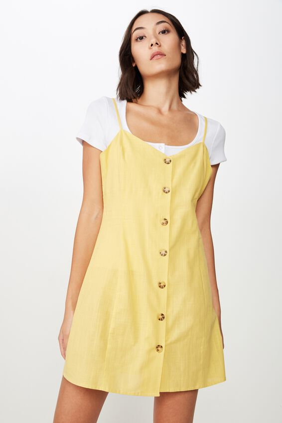 Woven Button Through Dress, WASHED YELLOW