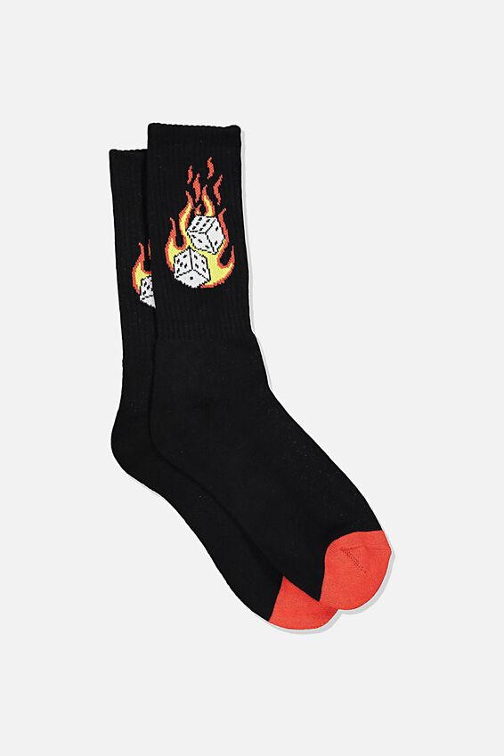 Retro Ribbed Socks, SNAKE EYES/BLACK