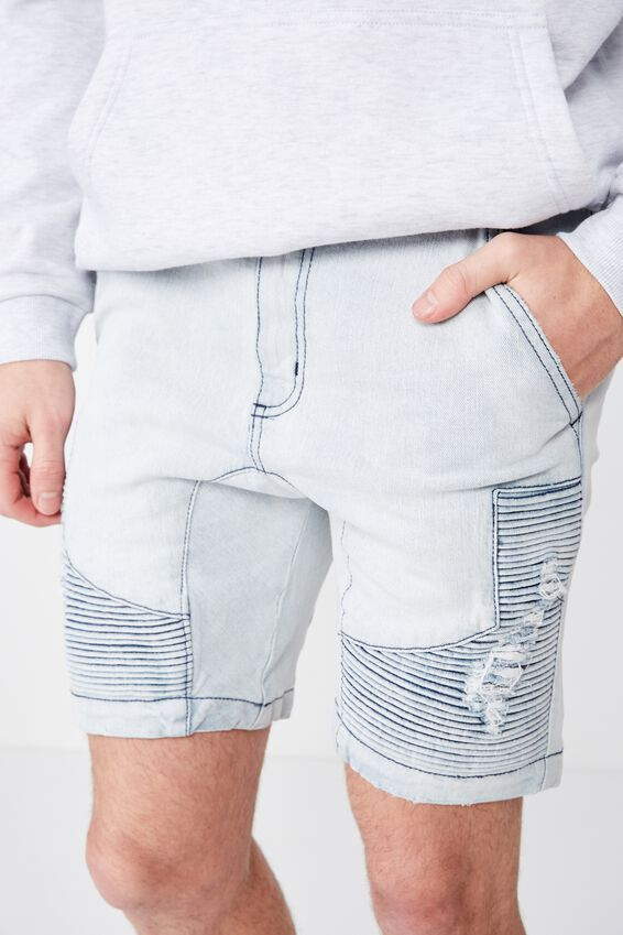 Moto Denim Short, PALE BLUE