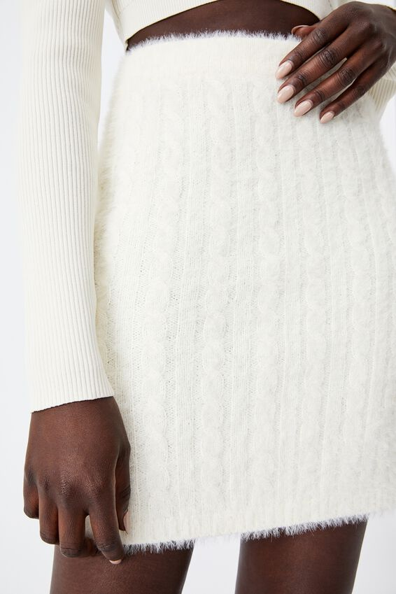 Fluffy Knit Cable Mini Skirt, IVORY