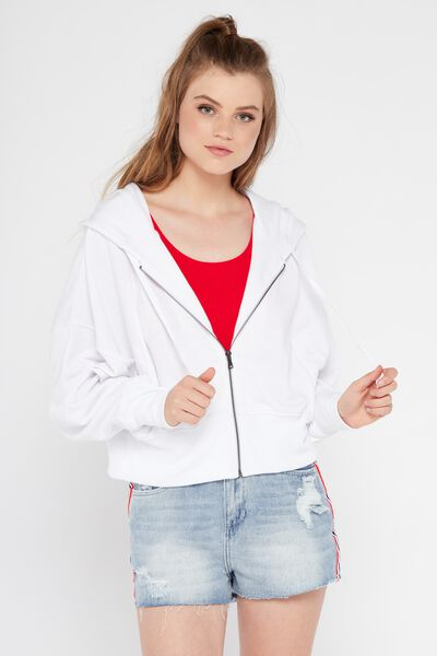 Caitlin Crop Zip Thru 2, OPTIC WHITE