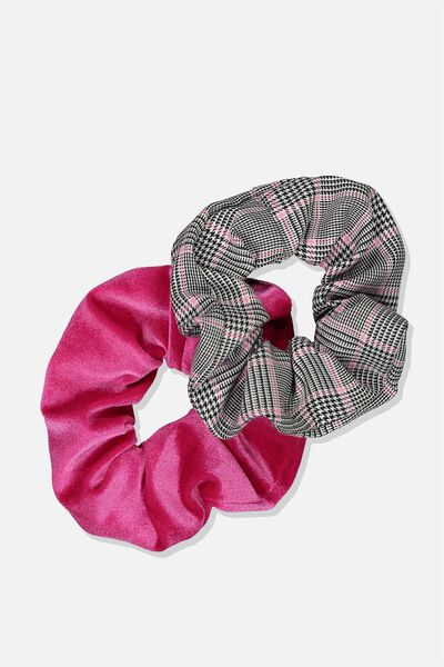 Planet Factorie Scrunchies, PINK CHK_PINK