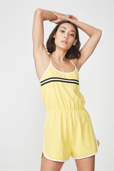 Strappy Waisted Jumpsuit, PRIMROSE YELLOW_WHITE TAPE
