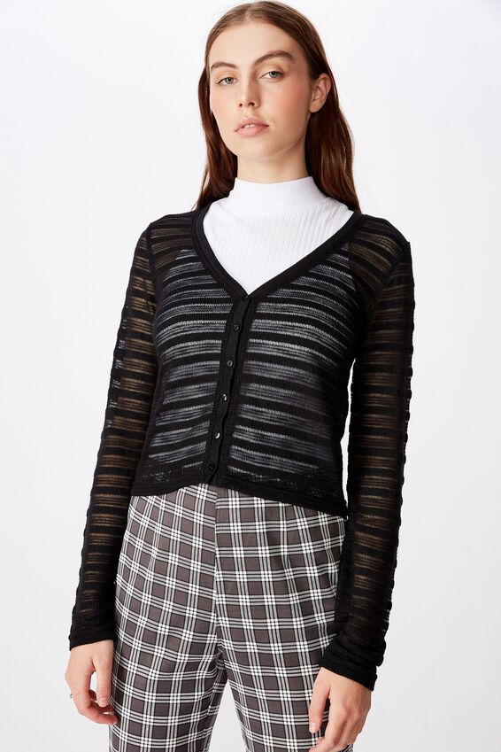Textured Table Cardi, BLACK