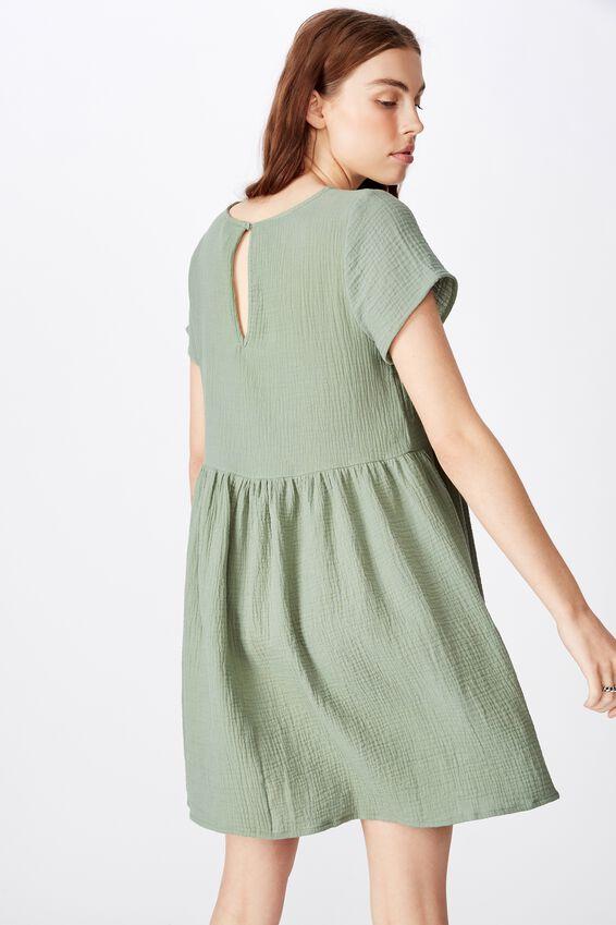 Short Sleeve Babydoll Dress, LILY PAD