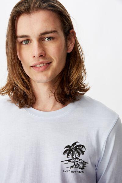 Long Sleeve Tie Die T Shirt, PURPLE/LOST BUT HAPPY