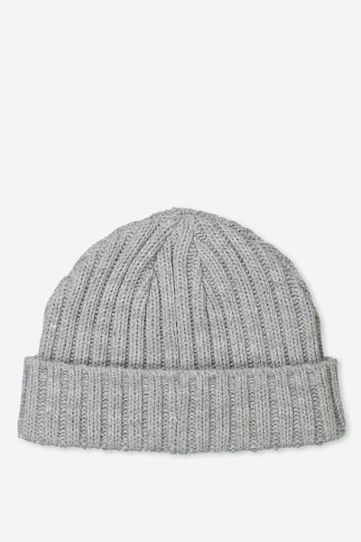 Fishermans Beanie, GREY MARLE