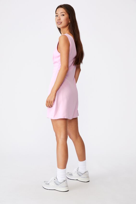 Deep V Mini Dress, BABE PINK