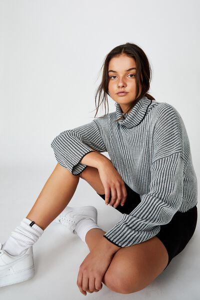 Roll Neck Knit Jumper, BLACK/WHITE TWIST