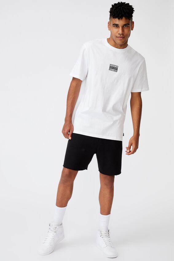 Regular Pop Culture T Shirt, LCN PAD WHITE/PARENTAL ADVISORY LARGE